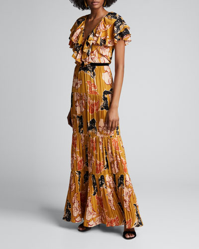 Golden Blossom Floral Crepe de Chine Tiered Pleated Dress