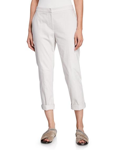 Cotton-Twill Zip-Front Cigarette Pants