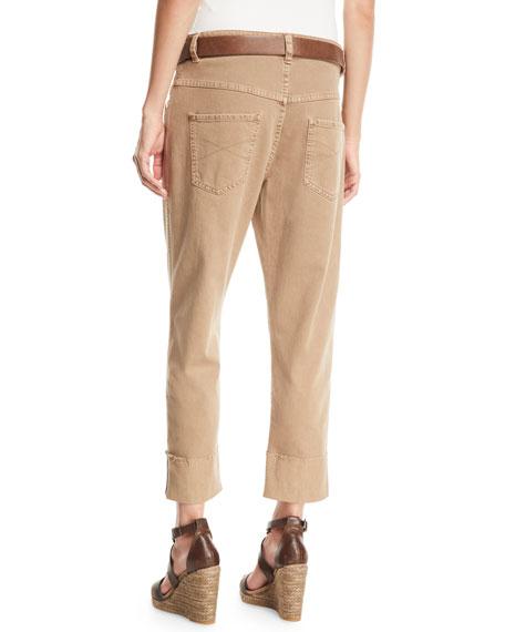 Monili-Trimmed Straight-Leg Cropped Jeans