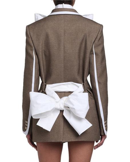 Poplin-Trim Flannel Print Blazer