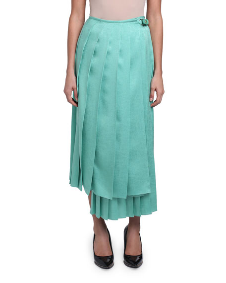 Pleated Silk Organza Maxi Skirt