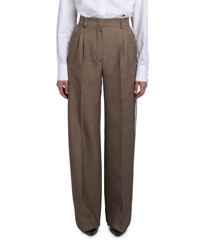 Wool-Silk Wide-Leg Pants w/ Leather Tuxedo Stripe