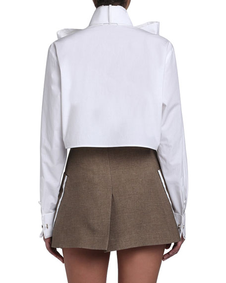 Cotton Taffeta Cropped Bow-Neck Shirt