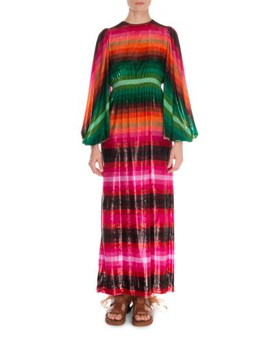 Long-Sleeve Striped Light Velvet Gown Dress