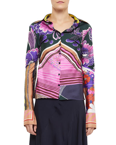 Abstract Multi Print Button-Front Shirt