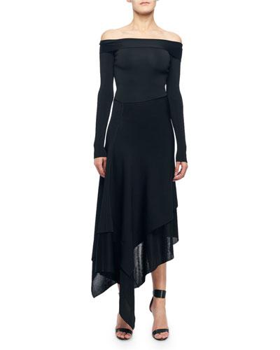 Off-The-Shoulder Asymmetric Cocktail Dress