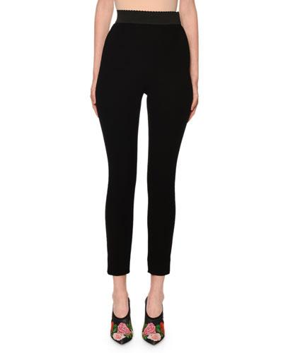 d67992a9f79e3c High-Rise Scalloped-Waist Wool Leggings Quick Look. Dolce & Gabbana