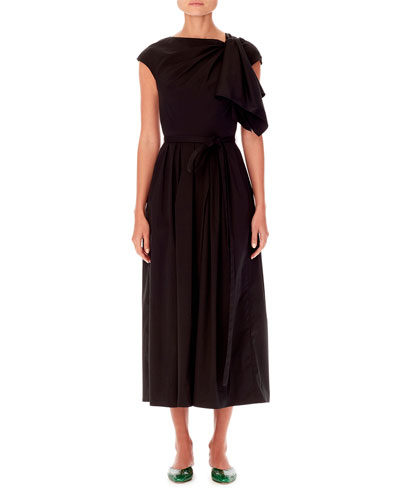 4bad9c45a1 Cap-Sleeve Asymmetric Knot-Detail A-Line Midi Dress Quick Look. Carolina  Herrera