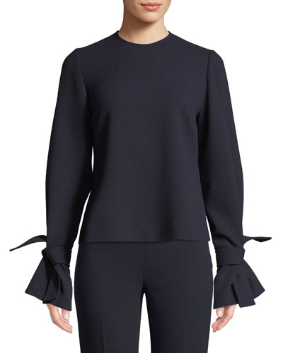Tie-Sleeve Crewneck Stretch-Wool Top