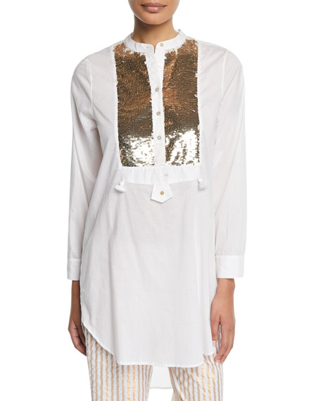 Thalie Golden-Sequined Bib Long Tunic