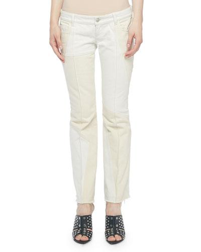 Patchwork Flare Kick-Back Jeans