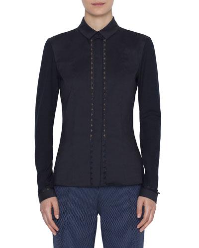 Stretch-Cotton Kent-Collar Button Front Blouse