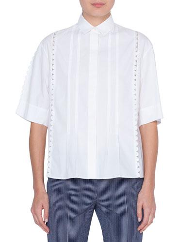 Stretch-Cotton Kent-Collar Button Front Blouse  Cream