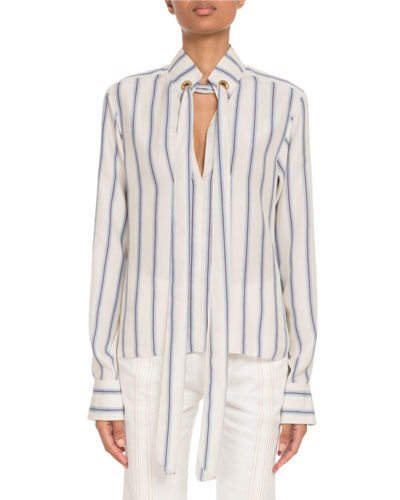 Tie-Neck Keyhole-Front Long-Sleeve Striped Silk Blouse