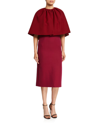 Short-Sleeve Colorblock Dress w/ Cape