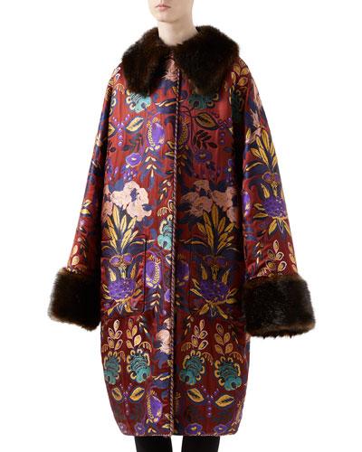 Floral Silk Jacquard Coat w/ Faux-Fur Trim