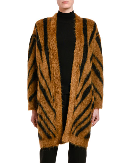 Carlo Tiger-Striped Fuzzy Cardigan