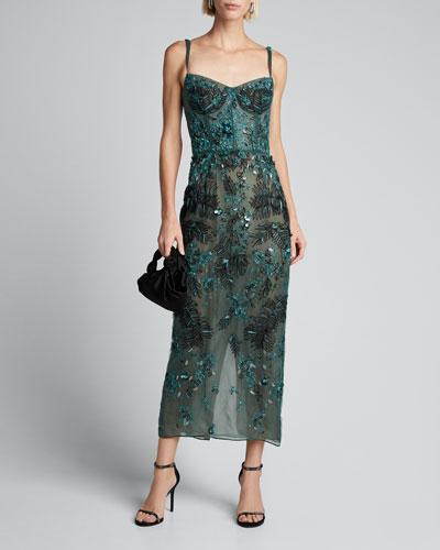 Beaded Tulle Balconette Midi Dress