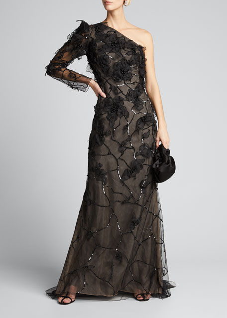 One-Shoulder Embroidered Gown