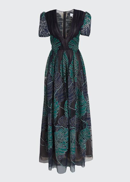 Leaf Applique Button-Back Gown