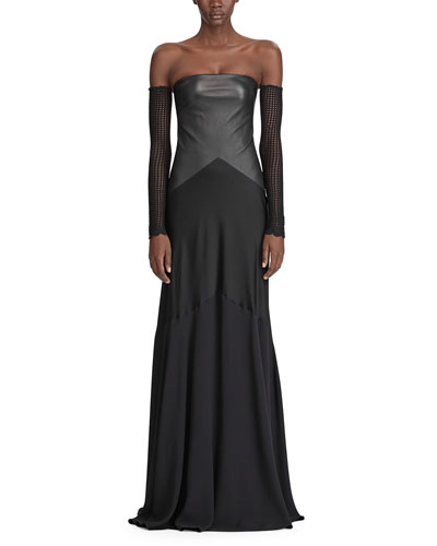 Emerick Strapless Leather-Bodice Evening Gown