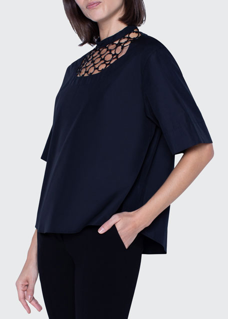 Image 1 of 1: Washed Poplin Chain-Neck Blouse