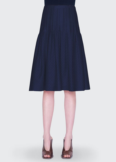 Tiered Eyelet Lace Midi Skirt