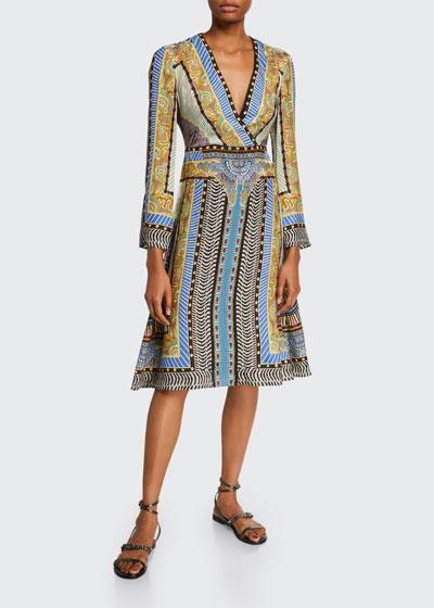 Geometric Paisley Faux-Wrap  Dress