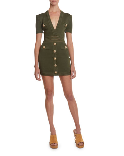 Deep-V Short-Sleeve Bodycon Dress