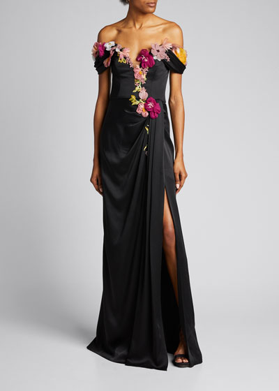 Floral Embroidered Organza Off-the-Shoulder Gown