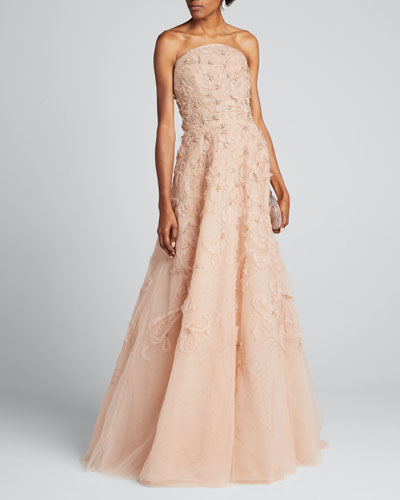 Strapless Embroidered Organza Gown
