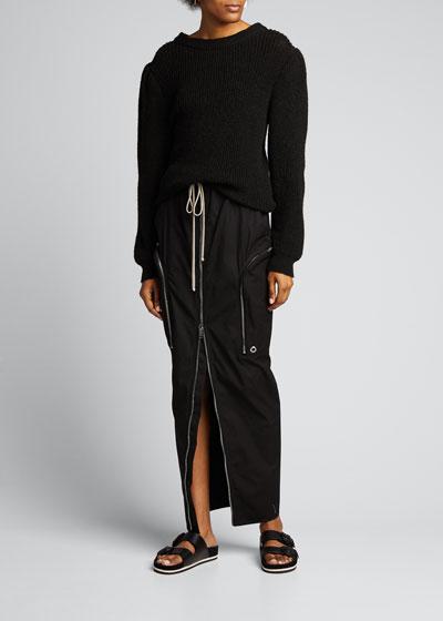 Zip-Front Long Cargo Skirt