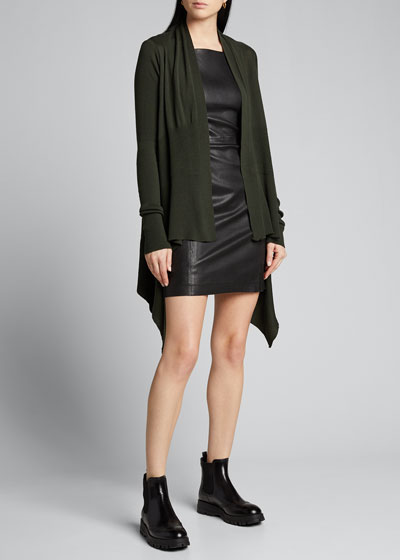 Wool Draped Open-Front Sweater