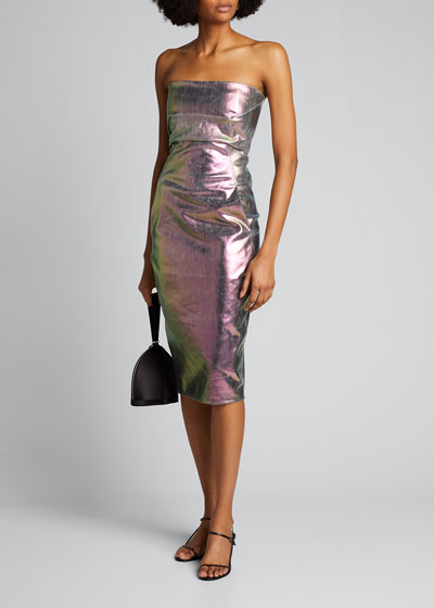 Strapless Metallic Bustier Dress