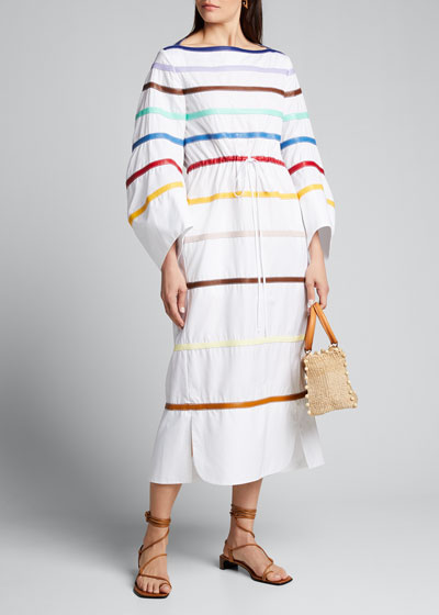 Rainbow Leather Poplin Dress
