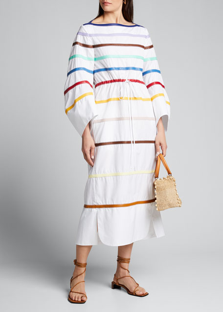 Rainbow Leather Poplin Dress