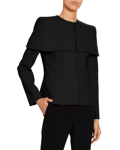 Structured-Cape Wool Top