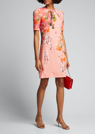 Spring Aroma Printed Crepe Satin Sheath Dress