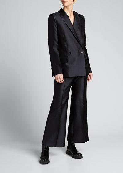Wool-Silk Pleated Crop Trousers