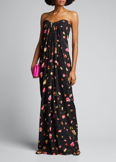 Floating Floral Strapless Printed Georgette Gown