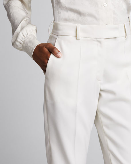 Cropped Wool Skinny Trousers