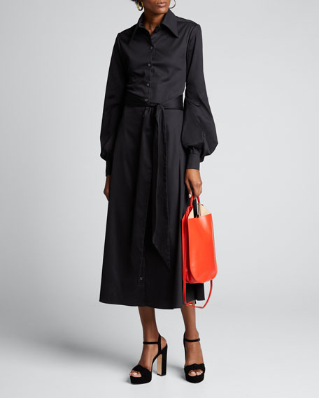 Image 1 of 1: Poplin Backless Shirtdress