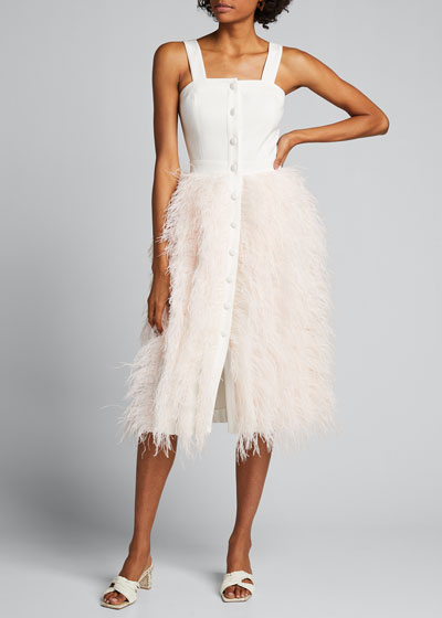 Feather-Skirt Button-Front Dress