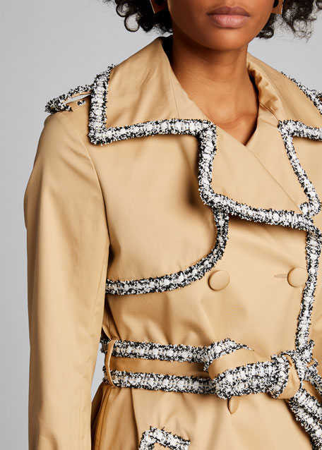 Tweed-Trim Trench Coat