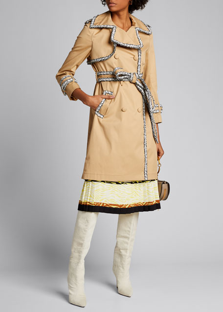 Image 1 of 1: Tweed-Trim Trench Coat