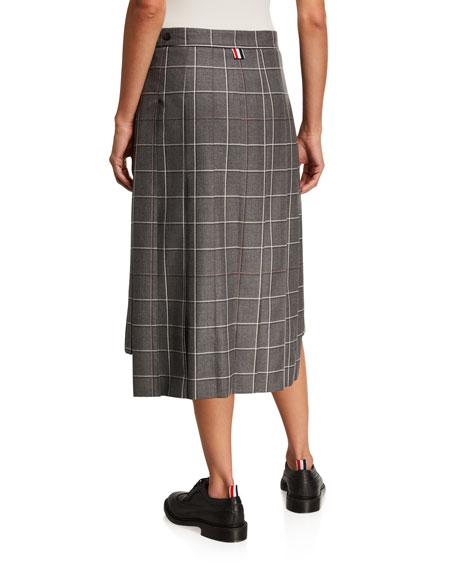 Windowpane Wool Maxi Skirt