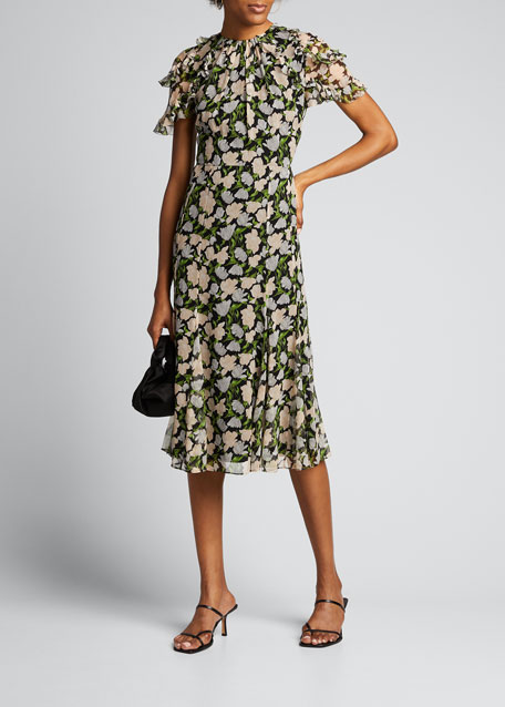 Floral-Print Crinkle Chiffon Short-Sleeve Dress