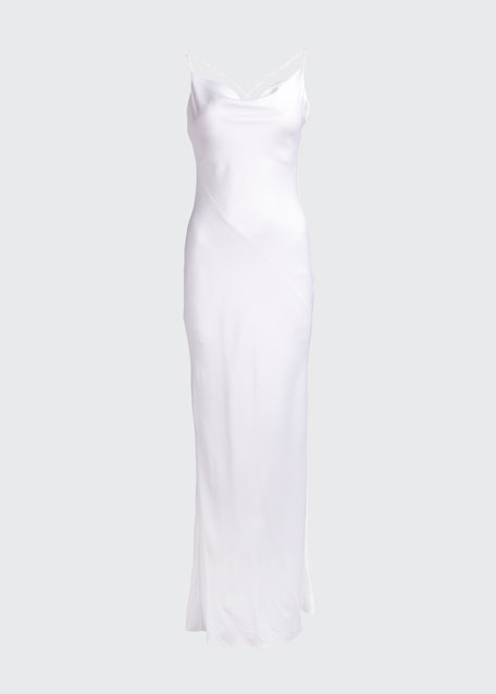 Cowl-Neck Satin Slip Gown