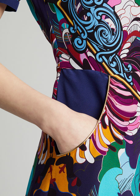 Multicolored Baroque Floral Short-Sleeve Dress