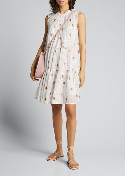 Flower-Striped Mousseline Dress